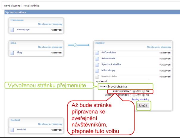 Stránku si můžete například přejmenovat a později, až budete mít nastaven její obsah, ji zveřejnit